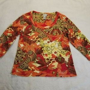 Chicos Womens Sz 1 Med Tunic Top Boho Floral 983